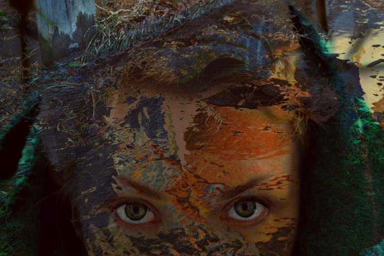 Close-up Full Frame Backgrounds One Person Double Exposure Creative Portraits Artistic Edit Green Eyes Water Reflections Colors Abstract BYOPaper!
