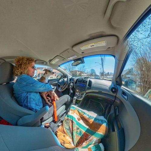 People sitting in car