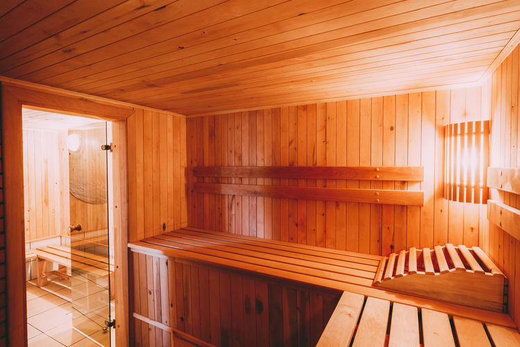 Interior of sauna room