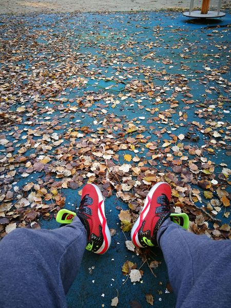 Shoes👟 Low Section Human Leg High Angle View Personal Perspective Human Body Part Leaves Outdoors Day Red People Close-up Shoes Jordan Nike Air  Park Outdoor Me