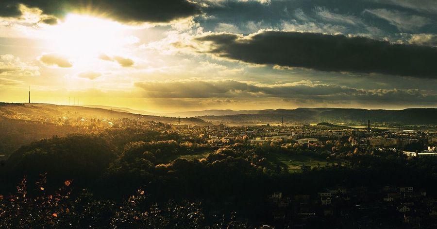 Sunbeam Sunset Sunlight Cloud - Sky Landscape Beauty In Nature Scenics Sun Dramatic Sky No People Cityscape Outdoors