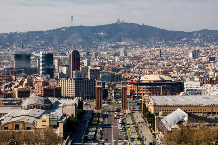 Architecture Cityscape Building Exterior City High Angle View Built Structure Outdoors Social Issues Urban Skyline No People Day Downtown District Mountain Sky Skyscraper Toros Plaza Travel Destinations Barcelona Catalunya Ciudad SPAIN Aerial View Urban Landscape Panorama
