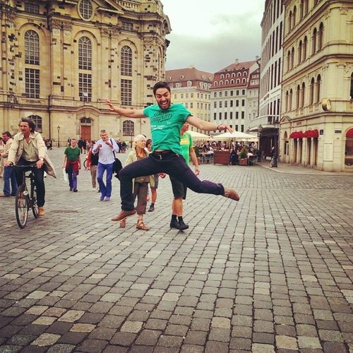 Dresden City Altstadt Street streetview jump happy ontheair construction instagramhub instagood bestoftheday, picoftheday
