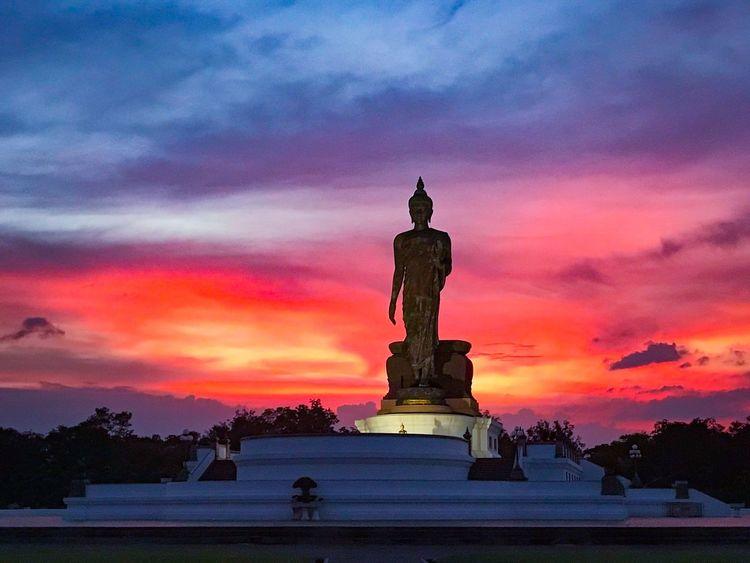 Big Buddha image in Buddhamonthon, Buddhist mandala in Nakhon Pathom, Thailand Park Buddha Buddha Statue Buddha Image Buddhism Culture Thailand Religion Sunset