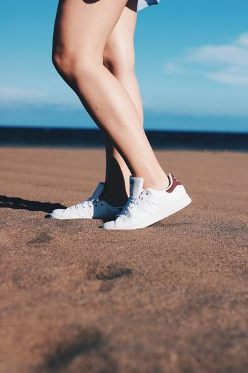 Summer heat Human Leg Sand Low Section Outdoors People Day Exploring Adidas Adidas Originals Adidas Stan Smith Sneakers Women Holidays Spaın Lanzarote