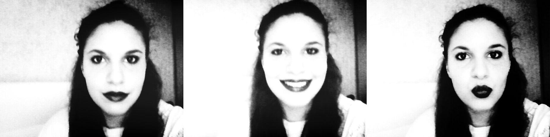 Black And White Selfie ✌ Girl Red Lips