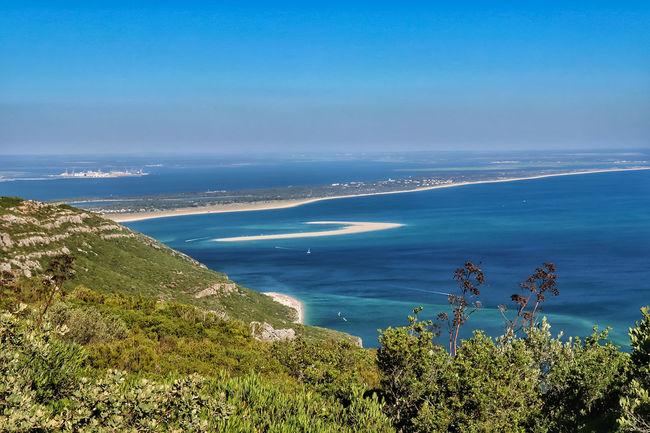 Arrábida e Ilha de Tróia Water Flower Sea Beach Blue High Angle View Sky Horizon Over Water Grass Landscape Seascape Ocean Coastline Coastal Feature Coast Calm Bay