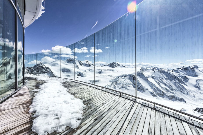 Viewpoint with modern architecture at the ski resort Apres Ski Austria Modern Panorama Südtirol Terrace Vacations View Wildspitze Architecture Bayern Beauty In Nature Glacier Glass Hotel Ischgl Landscape No People Pitztal Scenics Ski Ski Resort  Snow Sölden Winter