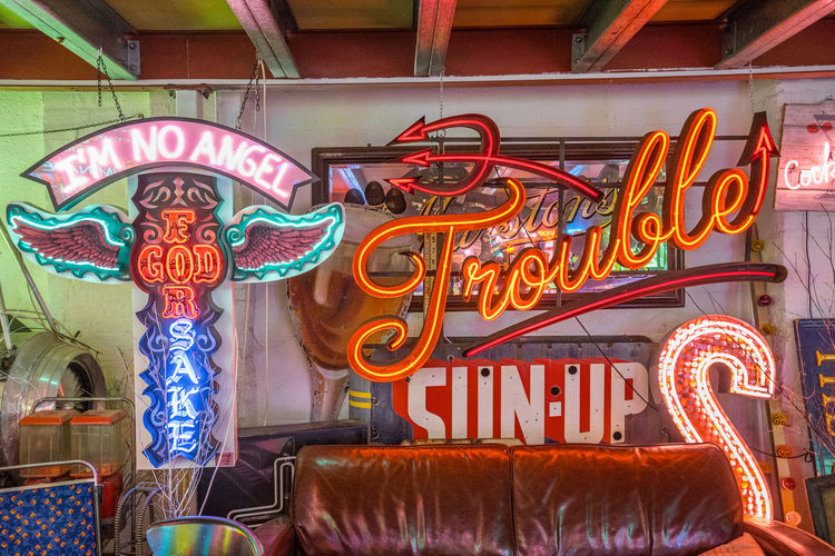 Neon signs and decorations at God's Own Junkyard in Walthamstow, London. Bright Colors Colourful Neon Signs City Lighting Communication Neon Neon Lights Text Trouble Urban Urban Lighting