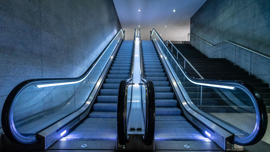 Technology Futuristic Underground Best Of Stairways Neon Lights Staircase Architecture Steps And Staircases Escalator Illuminated Indoors  Built Structure Convenience The Way Forward Railing Empty No People Direction Low Angle View Transportation Modern Metal Pattern Subway Station Absence Ceiling Underpass
