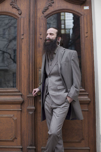 40 Years Old Bearded Beautiful Berlin Door Jewelery Man Rings Style Suit