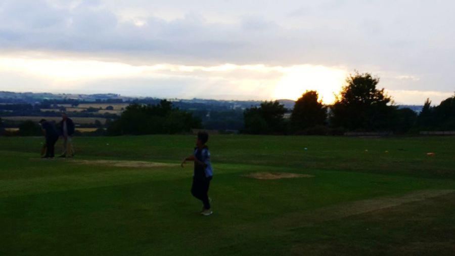 Cricket Field Golfer Tree Golf Course Full Length Sportsman Golf Women Sunset Sky Grass