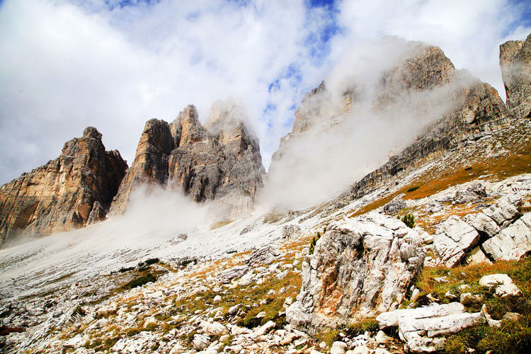 Idyllic View Of Dolomites Against Cloudy Sky