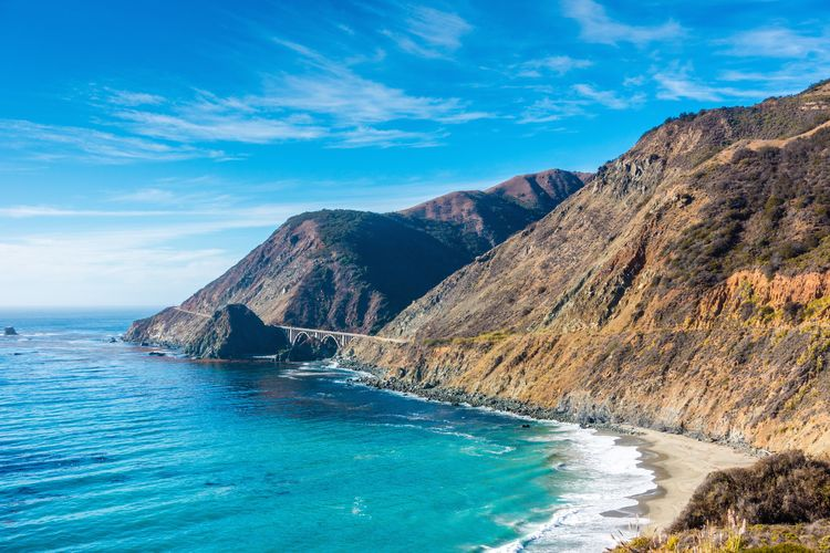 Route 1 Pacific Coast Highway Water Scenics - Nature Beauty In Nature Mountain Sky Tranquil Scene Tranquility Nature Cloud - Sky Non-urban Scene No People Day Mountain Range Idyllic Rock Blue Sea Land Remote Outdoors Turquoise Colored Formation