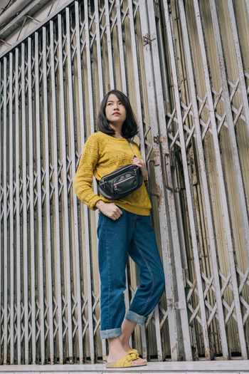 casual Ootd International Women's Day 2019 Beautiful Yellow Portrait Young Women Full Length Beautiful People Standing Women Casual Clothing Fence Pretty Asian  The Portraitist - 2019 EyeEm Awards