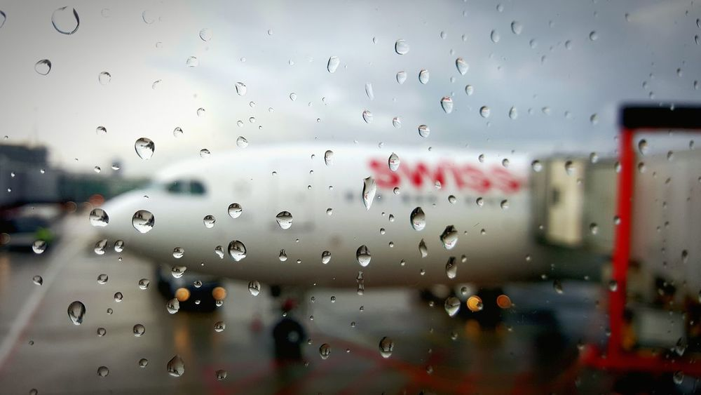Starting A Trip Swissair Rainy Day Airport Gate Taking Photos
