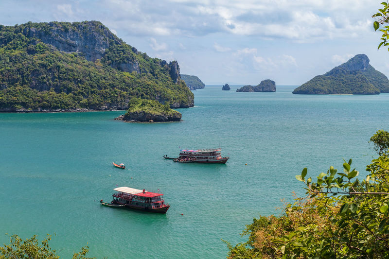 Angthong National Marine Park Green Thailand Bay Beauty In Nature Day High Angle View Idyllic Land Mode Of Transportation Mountain Nature Nautical Vessel No People Outdoors Plant Scenics - Nature Sea Sky Tranquil Scene Tranquility Transportation Travel Turquoise Colored Water