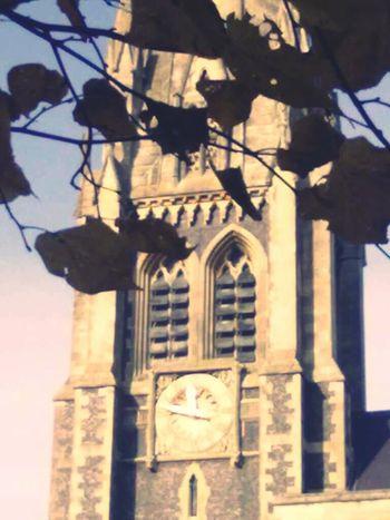 Spire  Clock Church Autumn Leaves