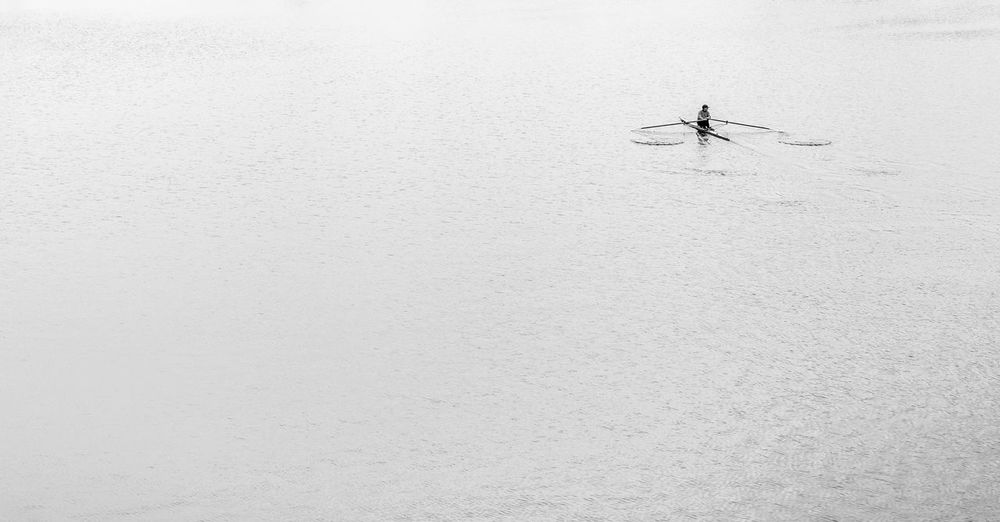 High Angle View Of Man Rowing Boat In Spree River