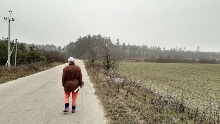 A woman walks