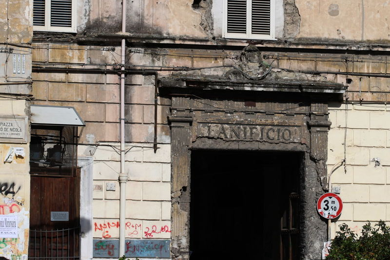 Abandoned Backery Architecture Building Exterior Built Structure Day Italy Napoli No People October 2016 Old Building  Outdoors Road Sign Window Writings