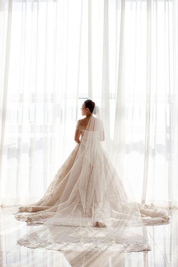 Beautiful Woman Curtain Marriage  Mylove Real People Rear View Wedding Wedding Dress Wedding Photos White Color Window Women
