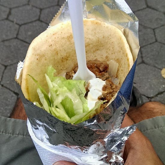 Had a great lunch with my dad. We had these gyros in New York City. Truckfood Food