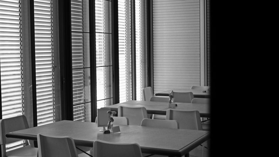 Empty coffee shop table in black and white color. selected focus.