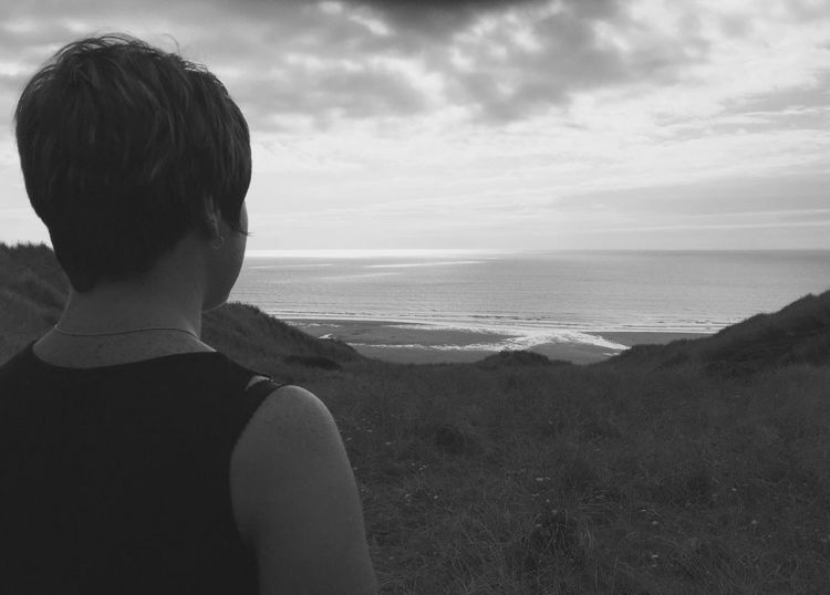 Time To Reflect Gathering Thoughts Sea Horizon Over Water Sky Scenics Nature Tranquil Scene Outdoors Standing Blackandwhite Thinking Reality One Person Cornish Life Young Women Perran Sands