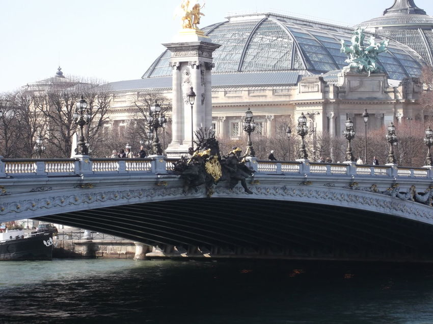 Architecture Bridge - Man Made Structure Building Exterior Built Structure City Cold Day La Seine No People Outdoors Paris River Sky Statue Travel Destinations Tree Water Waterfront Winter The City Light
