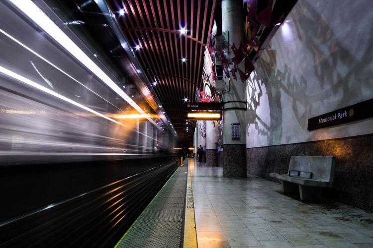 Blurred motion of subway train at night