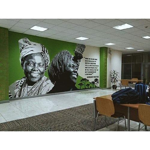 "My second mural of the mural series at the United States International University Africa (USIU) Library. Thank you to the Vice Chancellor Professor Freida Brown and my artistic team of Kerosh, Sheila Cleo, Mabel Rubadiri and Felok. ""Those of us who have been privileged to receive education, skilks, and experiences and even power, must be role models for the next generation of leadership."" Wangari Muta Maathai was a Kenyan environmental and political activist and A Nobel Peace prize Laureate. Power Wisetwo Nairobi Kenya Africa graffiti muralart murals stencils stencilart education Graffitigoesintellectual"