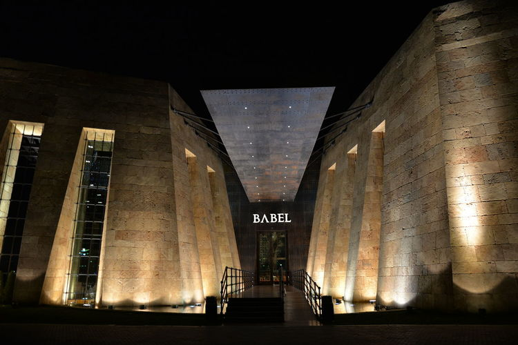 Architecture Babel Babel Restaurant Babel Restaurant Kuwait Built Structure City Illuminated Night No People Outdoors Sky Text