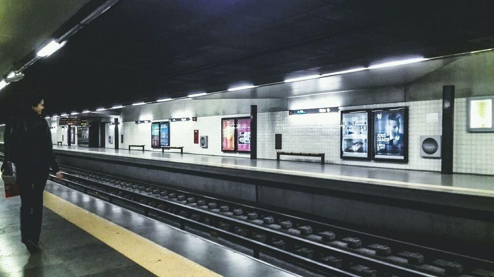 Indoors  Railroad Station Illuminated Rail Transportation Subway Train Architecture Lisbon - Portugal