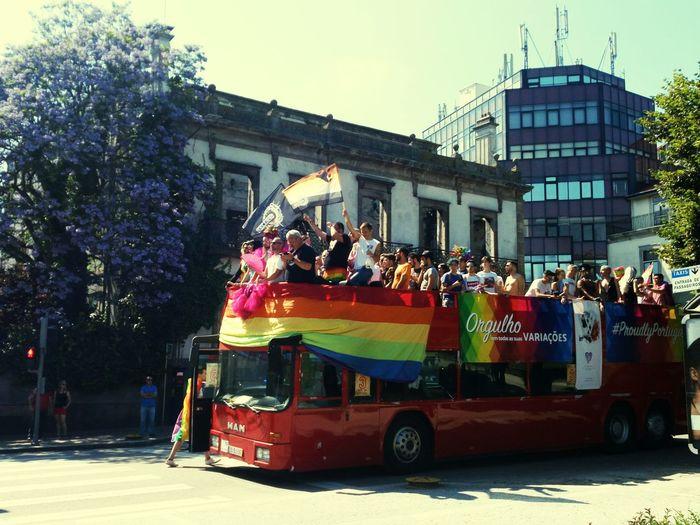 proudlyPortugual, orgulho! Lgbt Lgbt Pride LGBT Parade Love Is Love Tree Men City Architecture Sky Building Exterior Built Structure Bus