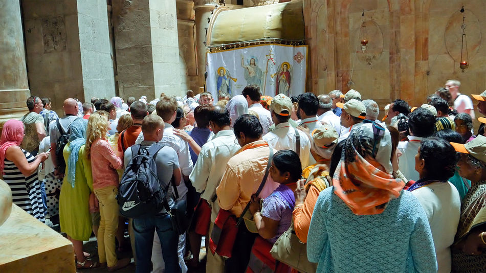 Calvary Holy Sepulchre Architecture Built Structure Crowd Day Empty Tomb Large Group Of People Men Outdoors People Place Of Worship Real People Religion Spirituality Standing Togetherness Women An Eye For Travel