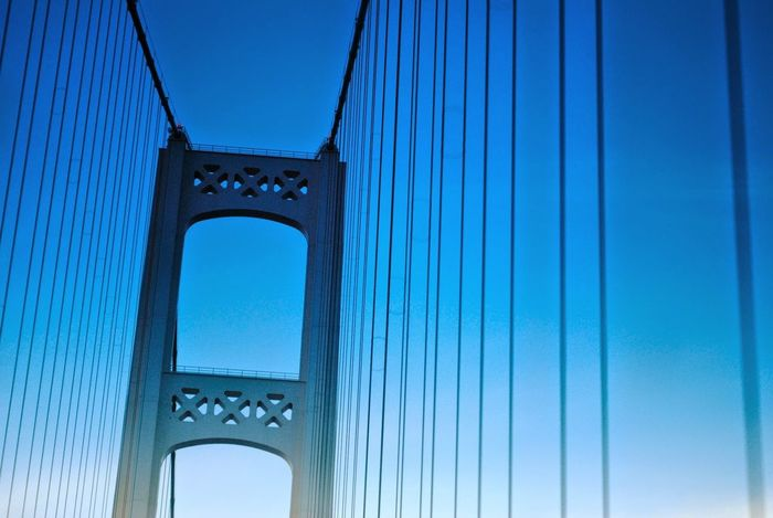 Suspension Blue Sky EyeEm Selects City Blue Bridge - Man Made Structure Arch History Gate Sky Architecture Close-up Built Structure Engineering Bridge Steel Cable Suspension Bridge Cable-stayed Bridge Triumphal Arch Underneath Arch Bridge
