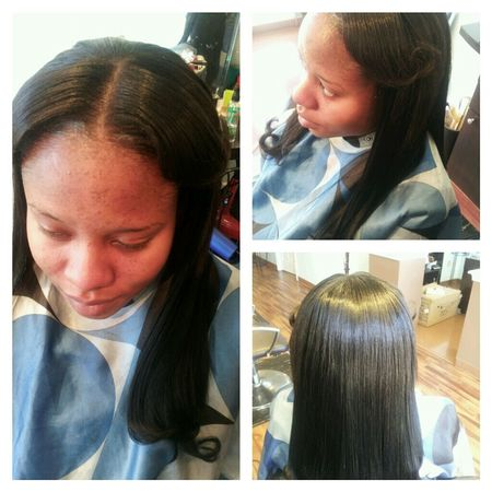 "PARTIAL NATURAL SEW-IN WITH ""MOISTURE REMY RAIN"" HAIR"