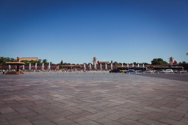 People At Forbidden City Against Clear Sky