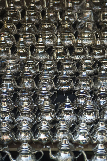 Full frame shot of steel teapots