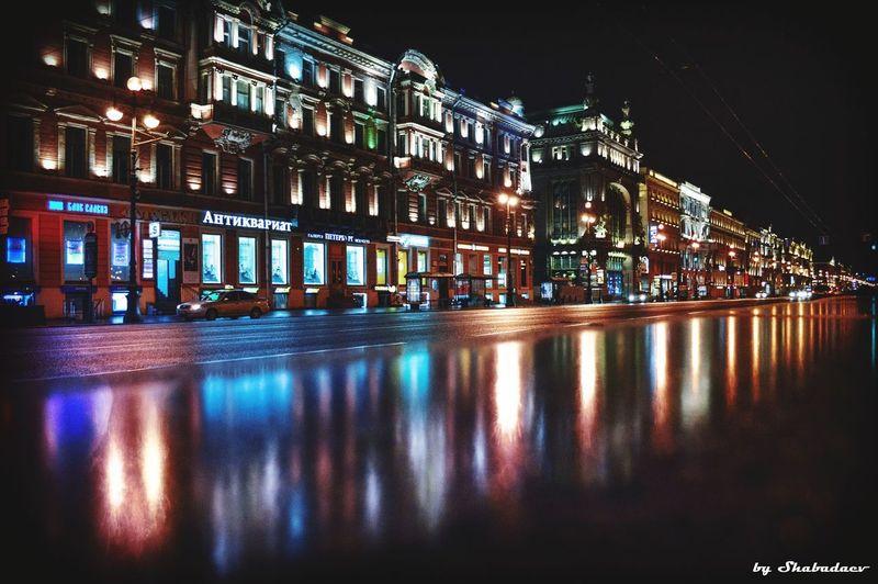Питер ❤️ любимыйгород Night Illuminated Reflection Architecture Built Structure Building Exterior Travel Destinations Colour Your Horizn
