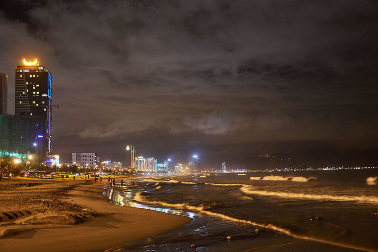 Vietnam Architecture Beach Beauty In Nature Building Exterior Built Structure City Cityscape Cloud - Sky Danang Danangbeach Illuminated Nature Night No People Outdoors Sea Sky Skyscraper Storm Cloud Street Light Travel Destinations