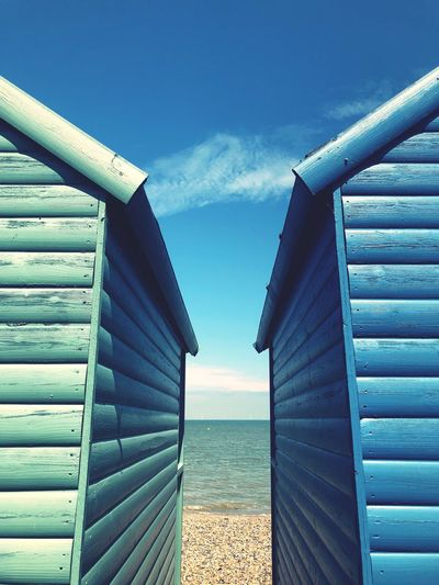 Coastline Coast Seaside Wooden Building English Beachphotography England Beach Hut Sky Built Structure Day Building Exterior Beach Cabin Hut Sea Blue Water Horizon Outdoors