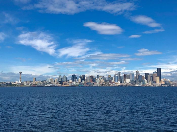 A classic skyline capture from Seattle Urban Skyline Enjoying Life Eye4photography  EyeEm Best Shots EyeEm Gallery Architecture Built Structure Building Exterior Sky City Water Cloud - Sky Building Waterfront Cityscape Skyscraper No People Residential District Urban Skyline Sea Blue Outdoors The Architect - 2019 EyeEm Awards My Best Photo