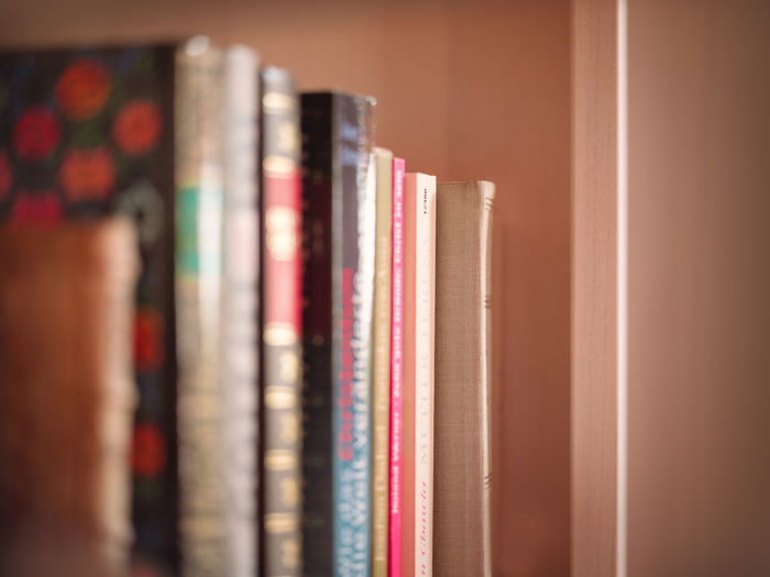 Close-up of books in shelf