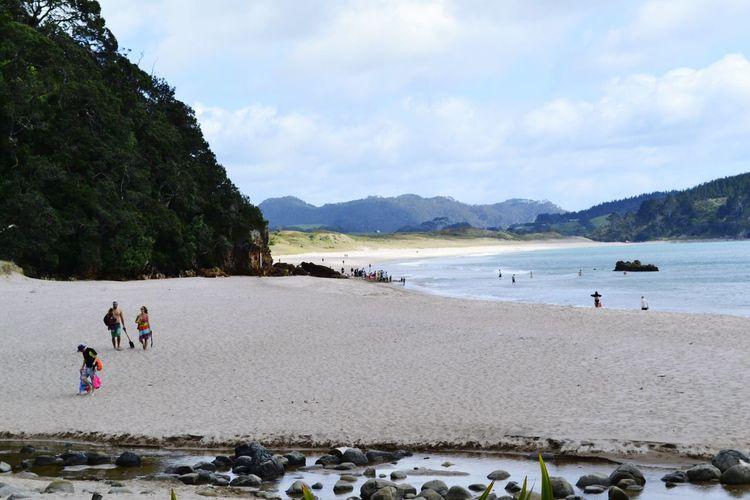 People Walking On Beach At Coromandel