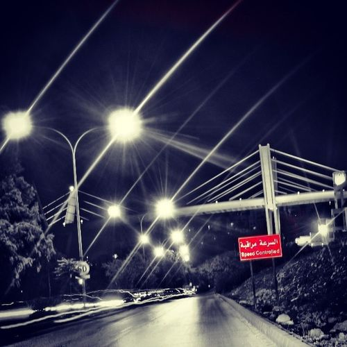 DiscoverJordan Discoveramman Abdoun Bridge night red sign black&white speedcontrolsign