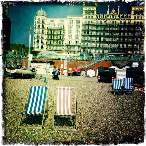 Pair Of Deck Chairs Deckchairs Beach Brighton