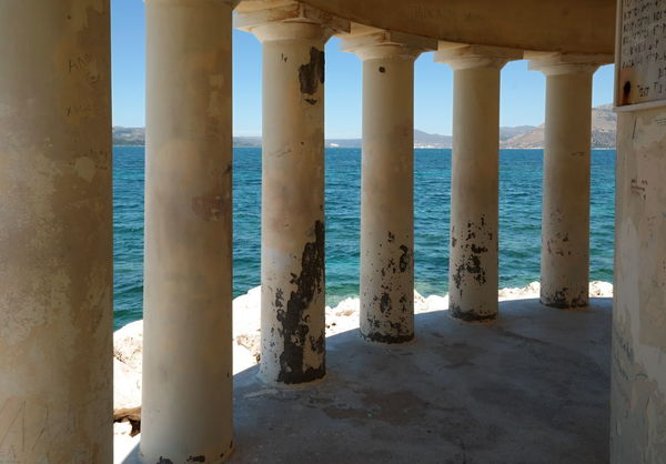 Blue Sea Architectural Column Architecture Beach Blue Sea And Blue Sky Built Structure Columns And Pillars Day In A Row In The Shade Light And Shadow Nature No People Outdoors Pillar Sea Sky Sunlight Underneath Water The Week On EyeEm Perspectives On Nature Stories From The City