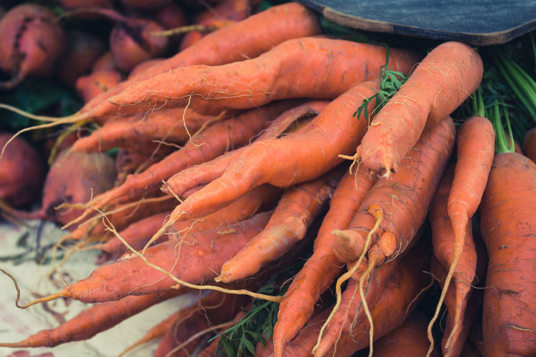 Close-up of carrots for sale at market